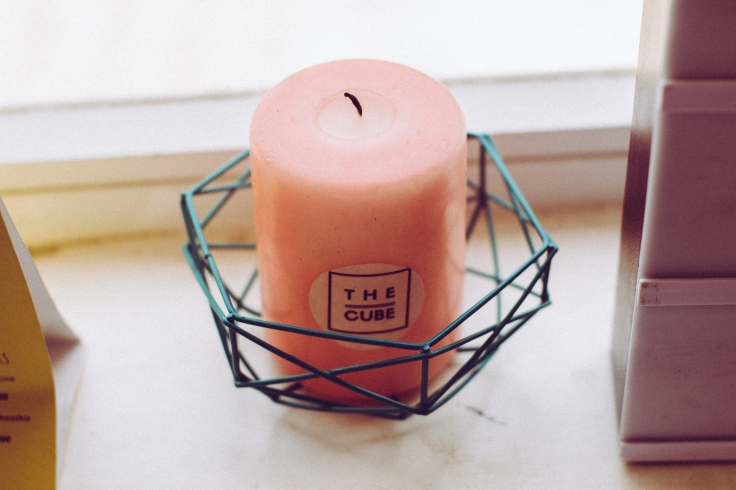 The cube, cafe, candle, scented candle, diy candle