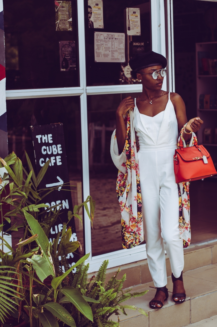 Cafe, cube cafe, style, beret fashion, french fashion, african fashion, red bag, white jumpsuit, black beret